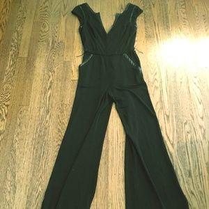 Bebe Jumpsuit Long Pants Sleeveless Black XS